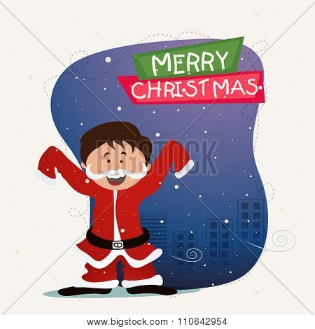Greeting card design with illustration of cute boy enjoying and celebrating on occasion of Merry Christmas.