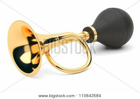 Vintage Car Air Horn Isolated On White Background 3D