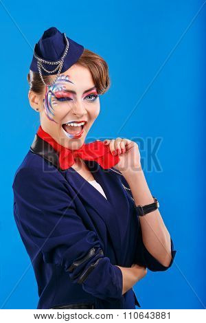 Stewardess With Face Art Winks.