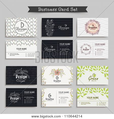 Professional Business Card, Name Card or Visiting Card set with front and back presentation.