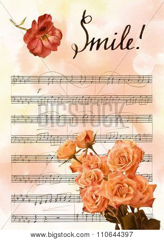 Vintage background texture with bokehs, bouquet of flowers, watercolour rose and sheet music