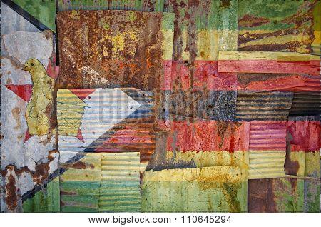 Corrugated Iron Zimbabwe Flag