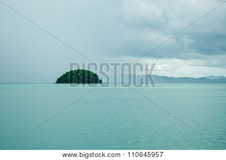The Islet In The Bay On A Rainy Day. Islands At Phang Nga Bay Near Krabi And Phuket. Thailand.