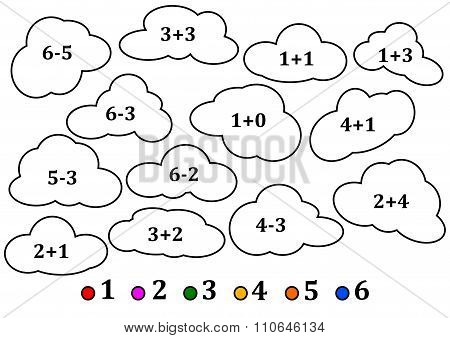 Colorful Clouds As The Counting For Little Kids - Coloring Book