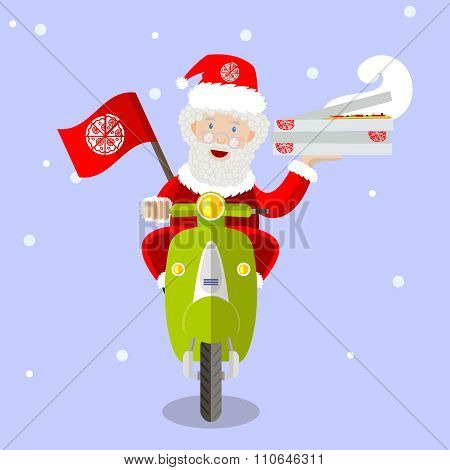 Santa Claus Pizza Delivery Man On Scooter