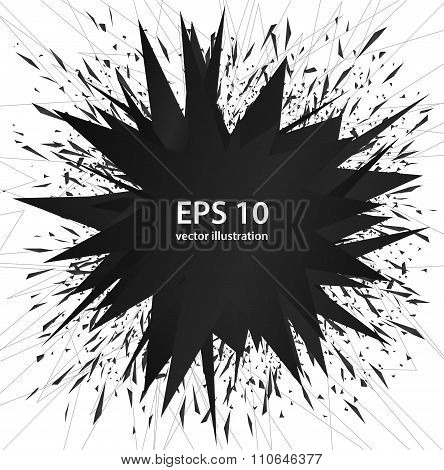 Abstract Black Elements Explosion, Vector Art
