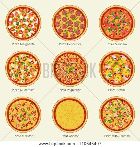 Pizza set icons.