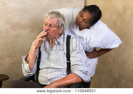 Elderly man in nursing home gets caught while smoking a cigarette