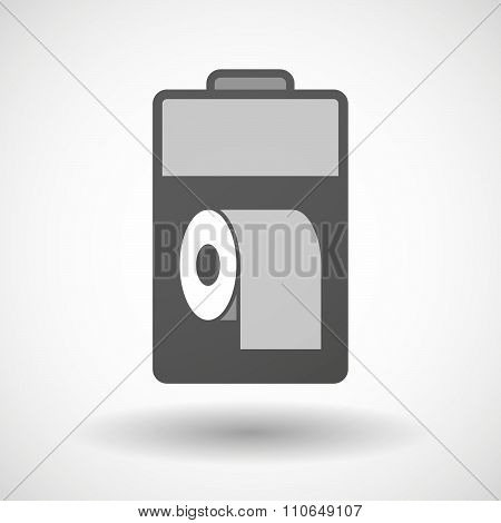Isolated Battery Icon With A Toilet Paper Roll