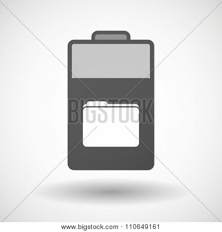 Isolated Battery Icon With A Folder