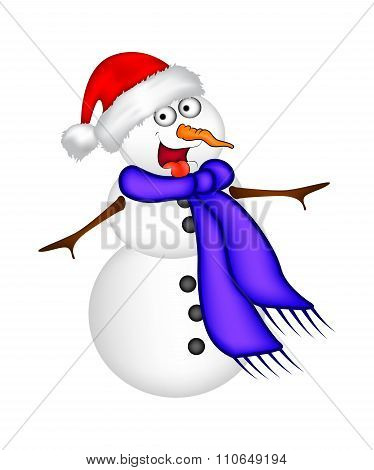 Christmas Snowman Cartoon Design For Card. Winter Icon, Symbol Vector Illustration Isolated On White