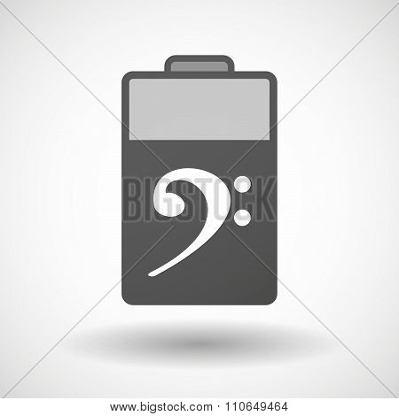 Isolated Battery Icon With An F Clef