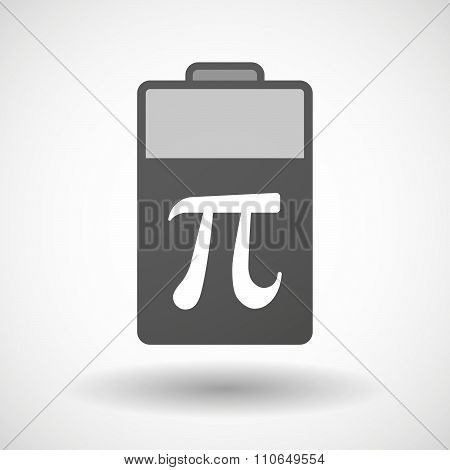 Isolated Battery Icon With The Number Pi Symbol