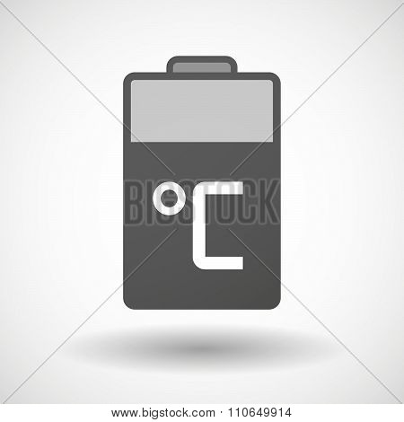 Isolated Battery Icon With  A Celsius Degree Sign