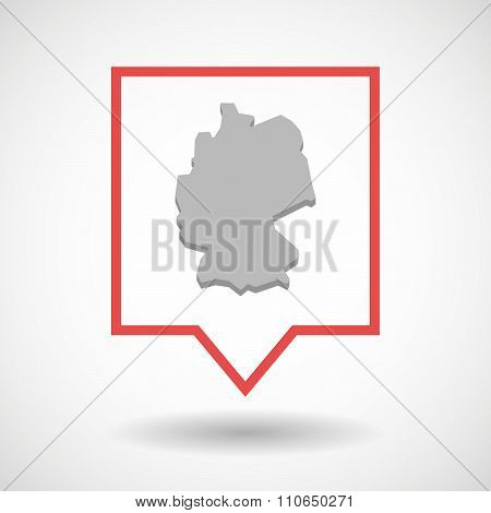 Isolated Tooltip Line Art Icon With  A Map Of Germany