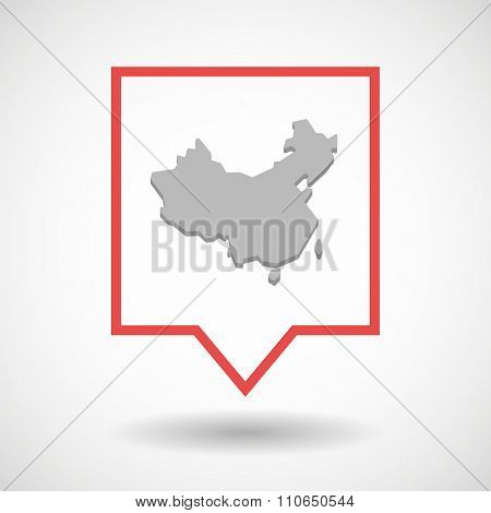 Isolated Tooltip Line Art Icon With  A Map Of China