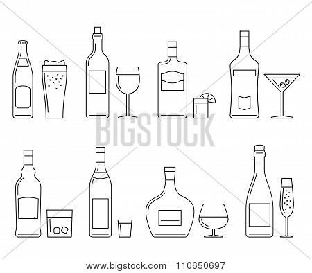 Beverages and drinks thin icons