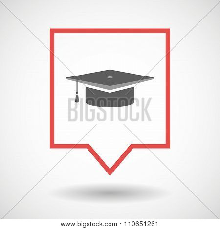 Isolated Tooltip Line Art Icon With A Graduation Cap