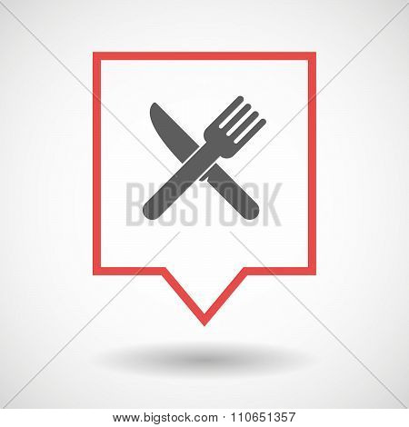 Isolated Tooltip Line Art Icon With A Knife And A Fork