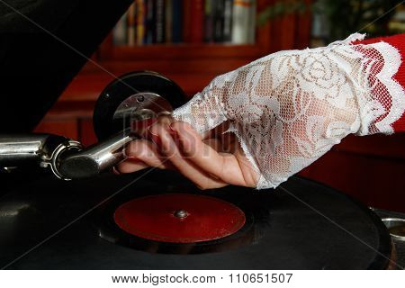 Lady Playng Old Gramophone Record