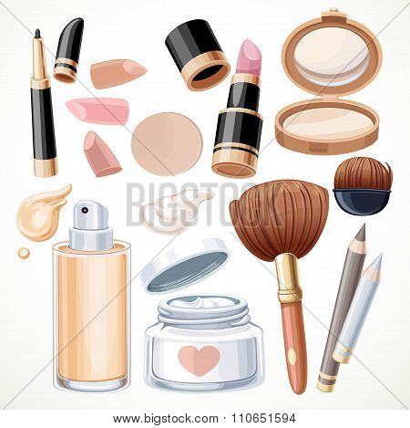 Set Of Cosmetics Bjects Cream, Face Powder, Lipstick, Brush, Fou