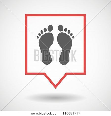 Isolated Tooltip Line Art Icon With Two Footprints