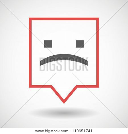 Isolated Tooltip Line Art Icon With A Sad Text Face