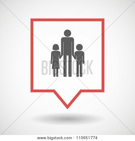 Isolated Tooltip Line Art Icon With A Male Single Parent Family Pictogram