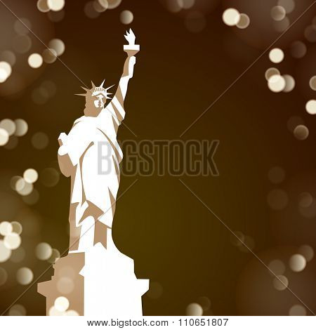 The Statue of Liberty on dark night background with lights