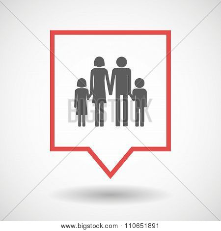 Isolated Tooltip Line Art Icon With A Conventional Family Pictogram