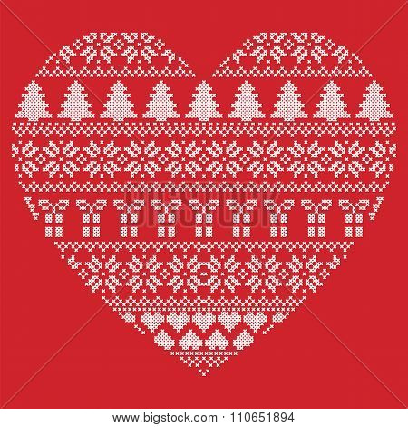 Pattern Cross Stitch Heart Shape On Red Background
