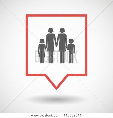 Isolated Tooltip Line Art Icon With A Lesbian Parents Family Pictogram