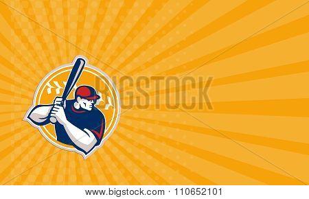 Business Card Baseball Batter Hitter Batting Side Retro