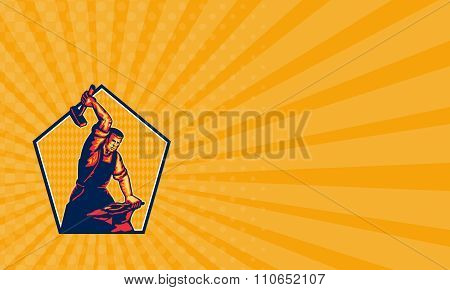 Business Card Blacksmith Worker Striking Sledgehammer Anvil Retro