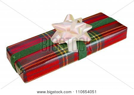 Wrapped Gift With Tartan Paper
