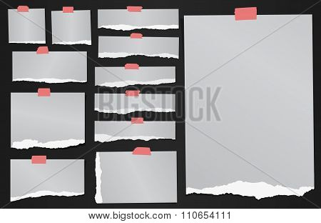 Set of various gray torn grainy note papers with adhesive tape