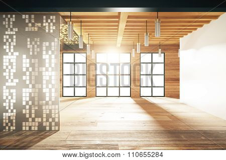 Empty Japanese Style Room With Windows In Floor