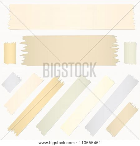 Set of horizontal diagonal and different size sticky tape, adhesive pieces on white background