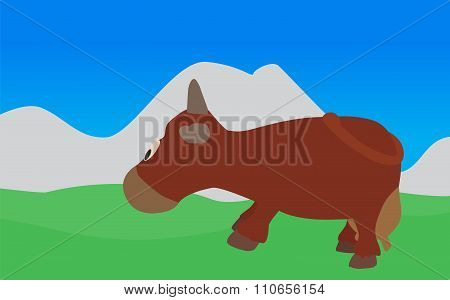 Cow Walks, Eats the Grass. Vector Illustration. EPS10.
