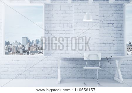 White Loft Interior With Table, Chair, Brick Wall And Windows