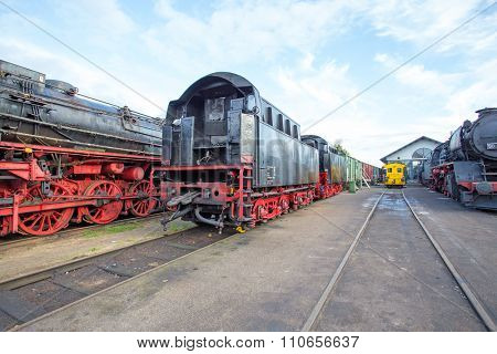 Depot from old fashioned train locomotives