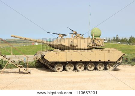 Latrun, Israel - April 02, 2010: Tank Merkava In Yad La-shiryon