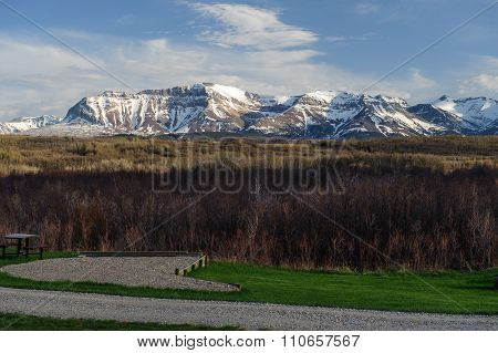 Scenic View On Glaciers from campground of Waterton Lakes