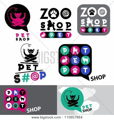 Pet shop animal logo sign template. Zoo pet shop sign. Cat, rabbit, poodle logo.