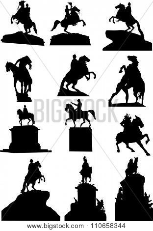 illustration with set of horseman statues isolated on white background