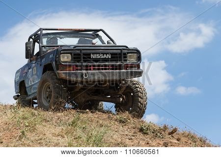 Off Road Car And Blue Sky In The Background
