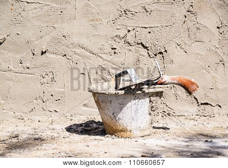 Mixing A Cement In Tank And Wet Cement Wall.