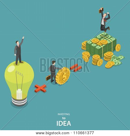 Investing into idea isometric flat vector concept.