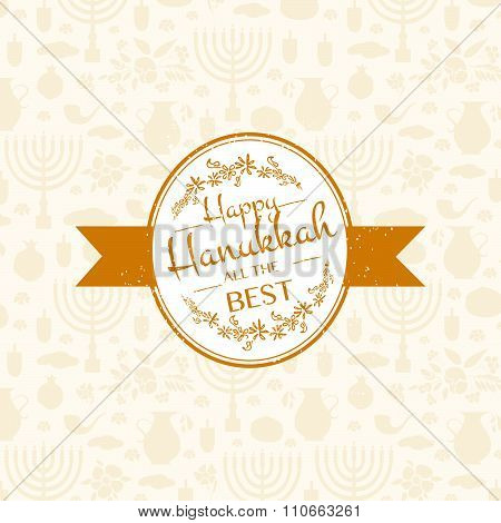 Happy Hanukkah Logotype, Badge And Icon Typography.