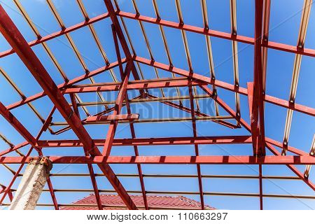 The Steel Structure Beam On Roof Of Building Residential Construction.